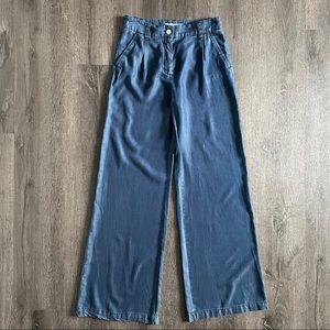 Zara High Rise Pleated Wide Leg Denim Pants (S)